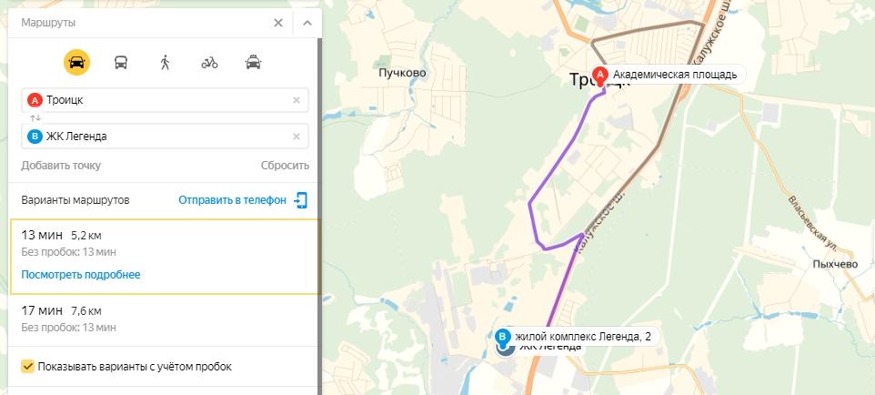 ЖК Легенда Троицк на карте