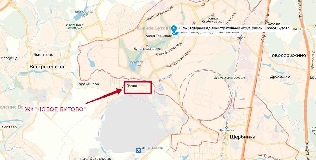 """ЖК """"Новое Бутово"""" на карте"""