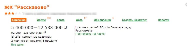 ЖК Рассказово (цены)