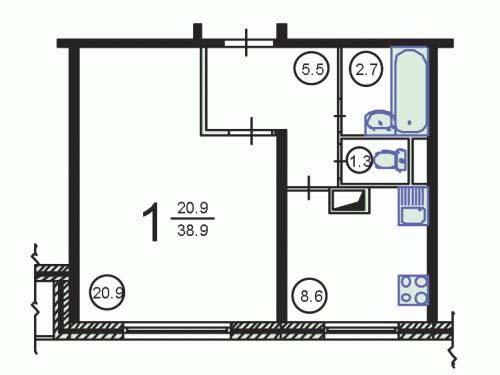Планировка однокомнатной квартиры в домах серии П-55
