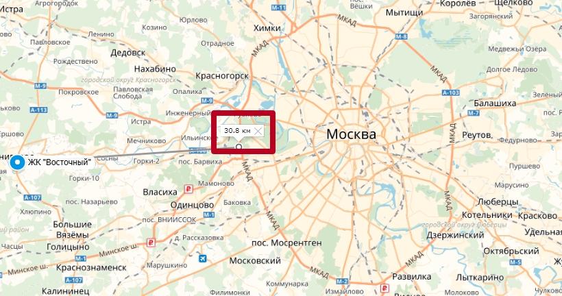 ЖК Восточный в Звенигороде на карте
