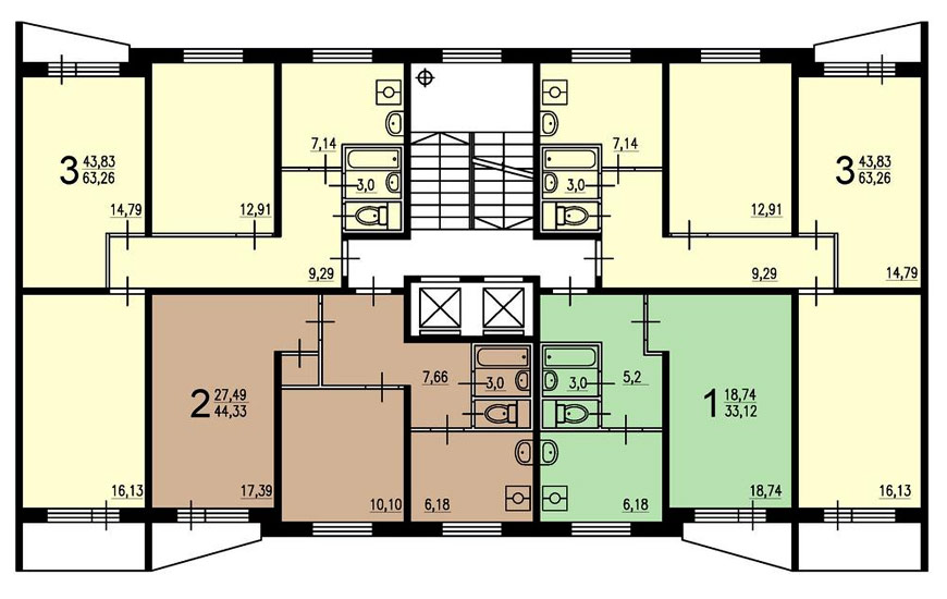 Планировка квартир в II-57