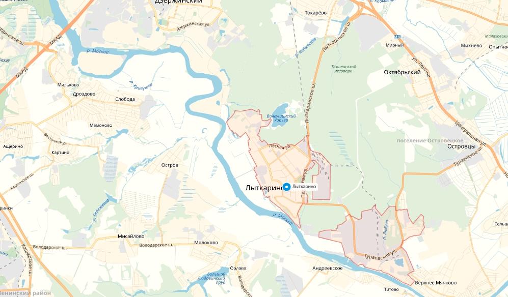 Лыткарино на карте