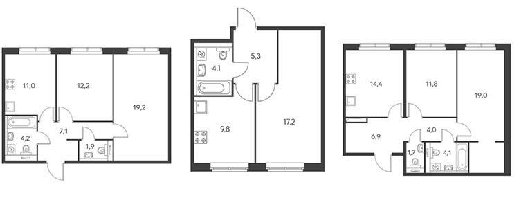 Серия ПИК-1 (квартиры с маленькими кухнями)