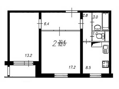 Планировка двухкомнатной квартиры в домах серии П-55