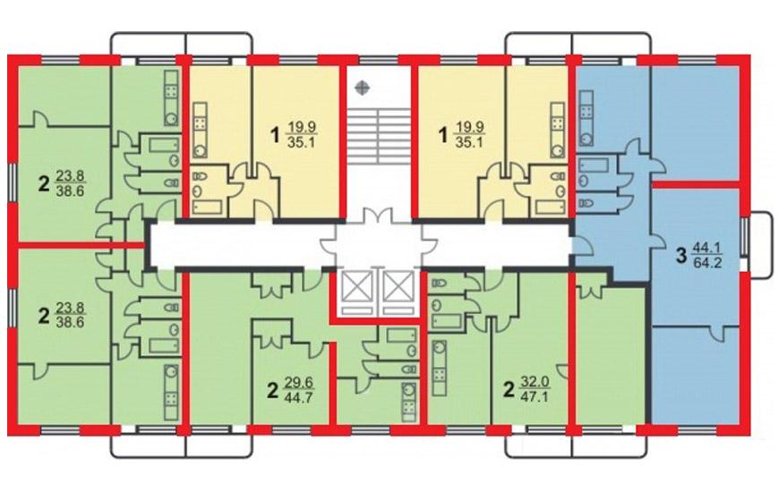 Дома серии II-18 (этаж, планировка)